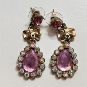 Betsey Johnson pink rhinestone earrings